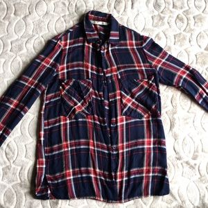 Zara Light Flannel Red Navy Blue XS Distressed